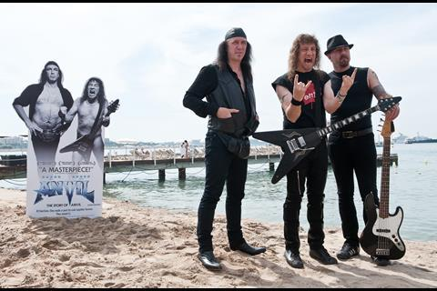 """(L-R) Musician Robb Reiner, musician Steve 'Lips' Kudlow and musician Glenn Five of Canadian rock band """"Anvil"""" at the photo call of """"Anvil"""" at the 62nd Cannes Film Festival in Cannes"""